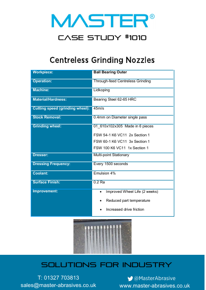 Master Case Study 1010 (Centreless Grinding Nozzles)
