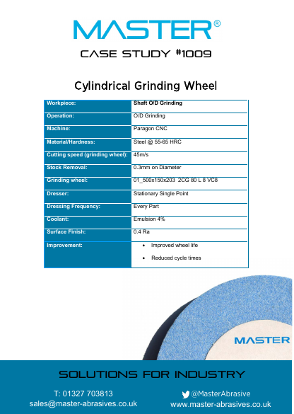Master Case Study 1009 (Cylindrical Grinding Wheel)