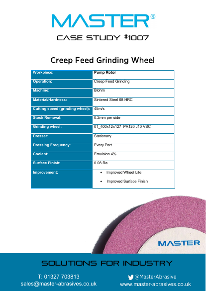 Master Case Study 1007 (Creep Feed Grinding Wheel)